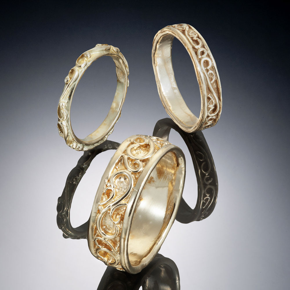 Solid Filigree Bands