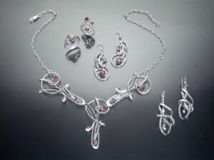 silver jewelry set with garnet