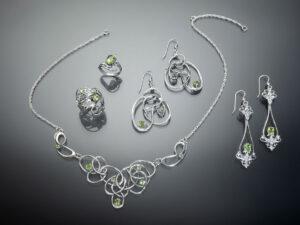 silver jewelry with Peridot